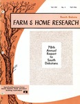 South Dakota Farm and Home Research: 78th Annual Report to South Dakotans by Agricultural Experiment Station