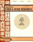 South Dakota Farm and Home Research: 79th Annual Report to South Dakotans by Agricultural Experiment Station