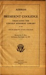 Address of President Coolidge dedicating the Lincoln Memorial Library at the South Dakota State College, Brookings, S. Dak., Saturday, September 10, 1927 by Calvin Coolidge