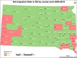 Net-migration Rate in South Dakota by County Level: 2000-2010