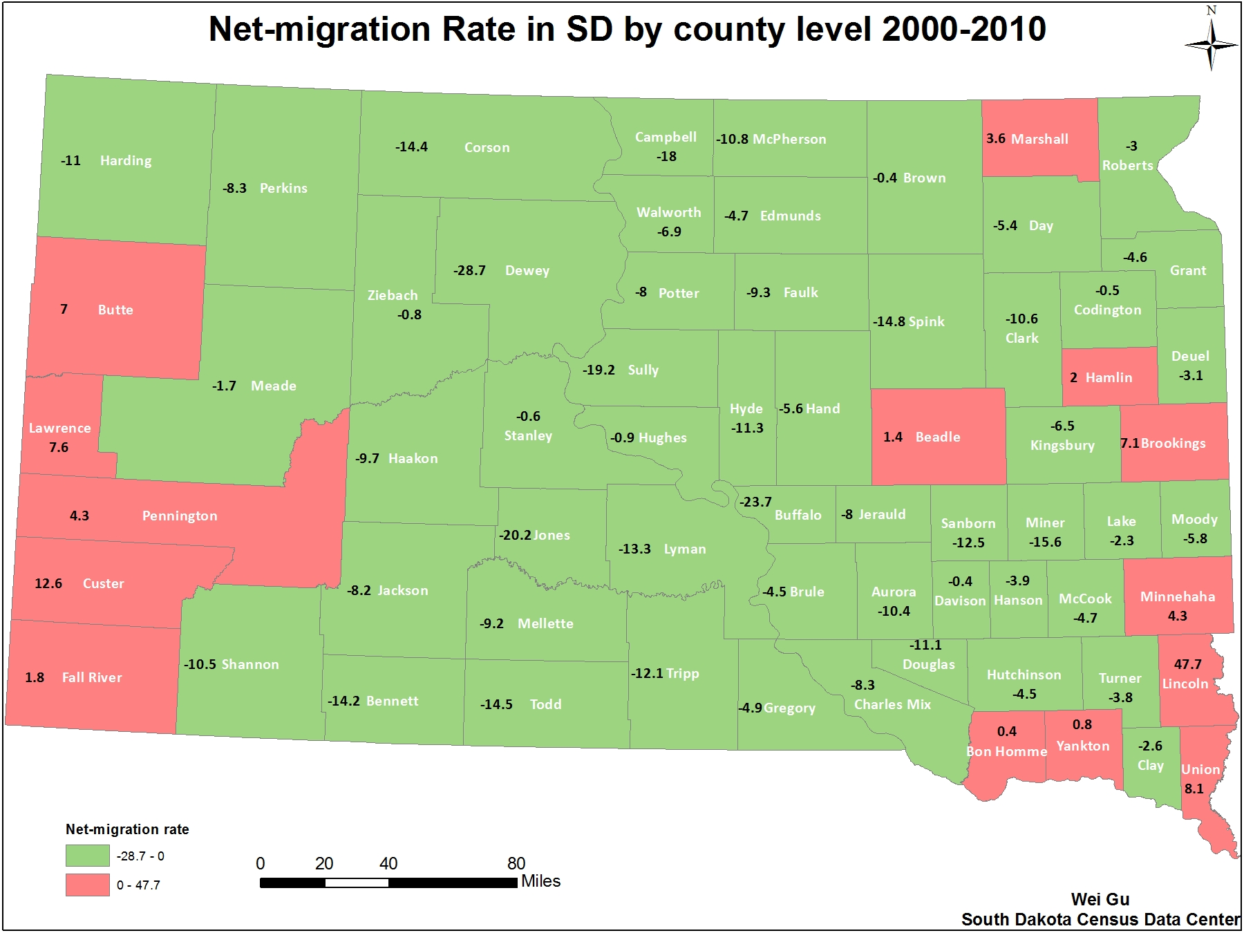 south dakota population density map Net Migration Rate In South Dakota By County Level 2000 2010 By south dakota population density map