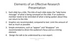 Elements of an EffectiveResearch Presentation