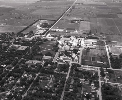 Aerial view of South Dakota State College