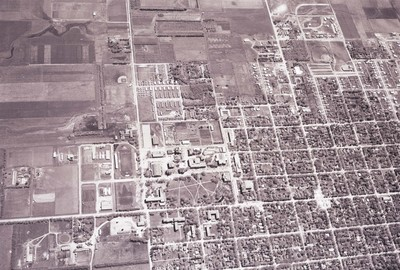 Aerial view of South Dakota State College, 1957