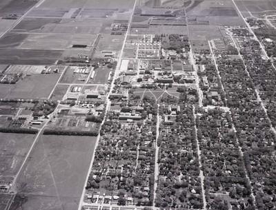 Aerial view of South Dakota State College and Brookings, South Dakota, 1962
