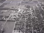 Aerial view of South Dakota State College and Brookings, South Dakota, 1962