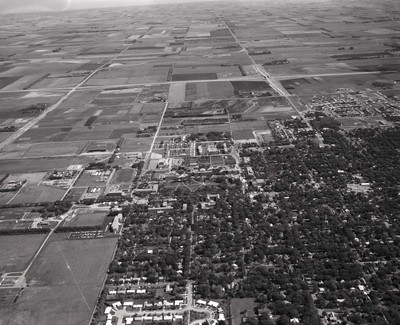 Aerial view of the South Dakota State University campus, 1967