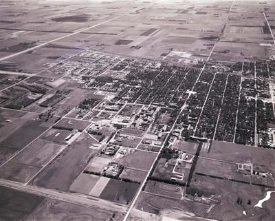 Aerial view of South Dakota State University and Brookings, South Dakota, 1967