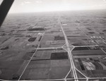 Aerial view of Brookings, South Dakota and Interstate 29, 1967