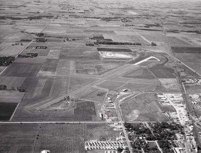 Aerial view of the Brookings, South Dakota airport, 1967