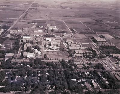 Aerial view of South Dakota State University, 1973