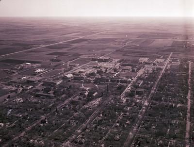 Aerial view of South Dakota State University, 1974
