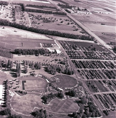 Aerial view of McCrory Gardens, 1976