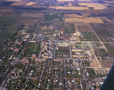 Aerial view of South Dakota State University, circa 1960s