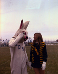 Cheerleader and Jackrabbit mascot at South Dakota State University, 1970