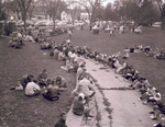 Gathering on the campus green at South Dakota State College, 1957