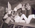 Freshmen class Hobo Day parade float construction, 1950