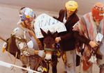 Hobo and a donkey on Hobo Day, 1976