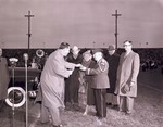 Hobo Day football half-time presentation to Carl 'Christy' Christensen at South Dakota State College, 1950