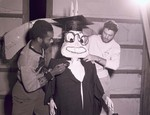 Hobo Day float building at South Dakota State College, 1953