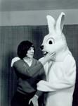 Woman with Jackrabbit mascot at South Dakota State College