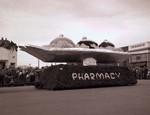 Pharmacy Hobo Day parade float, 1949