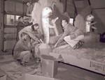 Pharmacy Hobo Day float construction, 1951