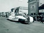 Pharmacy Hobo Day parade float, 1958