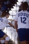 South Dakota State University 1994 Jackrabbits women's volleyball team in game