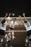 South Dakota State University 1997 Jackrabbits women's volleyball team in a game against NDSU