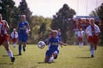 South Dakota State University 2000 Jackrabbits women's soccer team in a game against USD by South Dakota State University