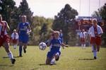 South Dakota State University 2000 Jackrabbits women's soccer team in a game against USD