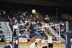 South Dakota State University 1998 Jackrabbits women's volleyball team in a game against USD