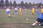 South Dakota State University 2000 Jackrabbits women's soccer team in their inaugural game against Southwest State