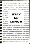 Stay for Lunch : Luncheon Recipes From the Files of the Members of the Crippled Children's Hospital and School Auxiliary, Sioux Falls, South Dakota.